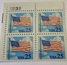 1988 USA $.25 Postal Stamps Flag In Clouds