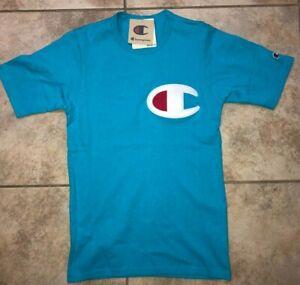 Mens Champion x Cookies Heritage Tee Stitch Logo Short Sleeve Shirt Blue NWT