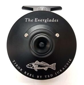 NEW TIBOR EVERGLADES IN FROST BLACK WITH REDFISH ENGRAVING #7-9 WT FLY REEL