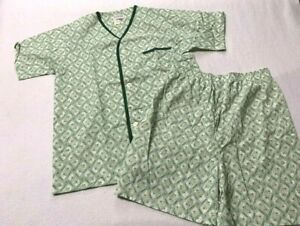 Redwood Mens L XL Tall Vintage Button Snap Pajama Set Shirt Shorts Green Orange