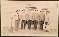 Spearfish SD ~ Real Photo RPPC Men & Brooms Janitors At Spearfish Normal School