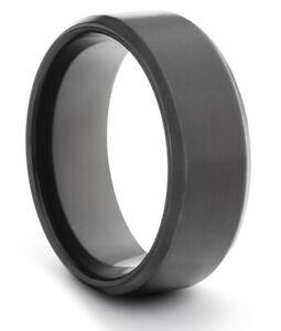 TungstenMasters 8MM/6MM/4MM TITANIUM Mens/Womens Matte Black Wedding Band Ring
