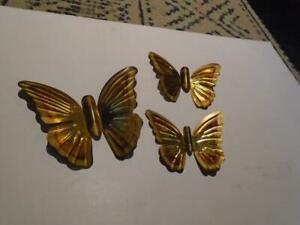 VINTAGE 3 PC HOMCO HOME INTERIOR GOLD METAL BUTTERFLIES  WALL PLAQUES
