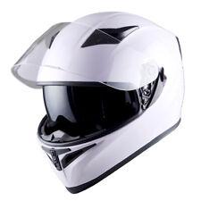 1Storm Motorcycle Full Face Dual Visor Helmet Inner Sun Visor Shield GlossyWhite