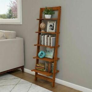 Five Tier Ladder Style Wooden Storage Bookshelf Display Cherry Finish