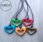 Fashion Wooden Necklace Heart Pendant Long Red Turquoise Orange Green Natural