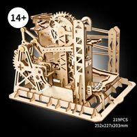 ROBOTIME 3D Wooden Puzzle Laser Cut Marble Run Toy Lift Coaster Toy for Adults