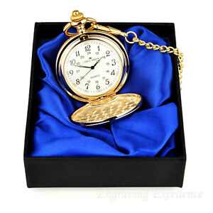Engraved Gold Coloured Pocket Watch Christmas Lid Birthdays Weddings Gift