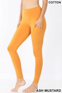 Zenana Long Leggings Cell Phone Pocket Wide Waist Band Cotton S-XL Plus 1X-3X