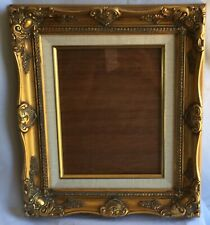 Vintage Wood Carved Frame with Glass Gold with White Canvas Border 13.5 x 15.5