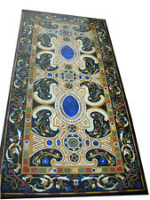 """48"""" x 24"""" Marble Dining Table Top Handmade Lapis Inlay Work Home Decor"""