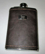 Brown Genuine Leather Stainless Steel 5oz Hip Flask NEW Biker Liquor HIP