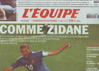 journal  l'equipe 15/06/2004  FOOTBALL EURO 2004 ZIDANE CYCLISME VINOKOUROV