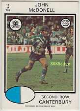 1975 SCANLENS RUGBY LEAGUE CARD #16: JOHN McDONELL- CANTERBURY BANKSTOWN BERRIES