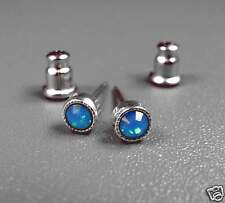 NEU Edelstahl OHRSTECKER 3mm SWAROVSKI STEINE caribbean blue opal/blau OHRRINGE