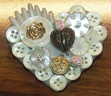 Vintage Hallmark Heart Shaped Collage Brooch Made of Buttons Collectible Pin!