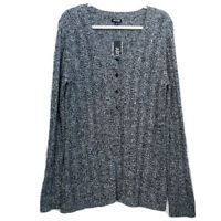 NEW Apt. 9 Women's XL Knit Cardigan Sweater Button Front Gray Black Long Sleeve
