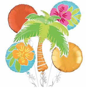Tropical Foil Balloon Bouquet Luau Hawaiian Summer Beach Party Decoration 5 pc.