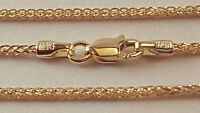 "14 k Solid Yellow Gold 1.25 mm Square Wheat  Chain Necklace 16"",18"",20"",22"",24""."