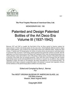 Art Deco Bottle Patents, vol. 3, 1937-42 - Perfumes, Milk Bottles, Sodas, Jugs