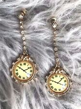 Very Rare BETSEY JOHNSON School Of Dance Collection Crystal Lucite Clock Earring