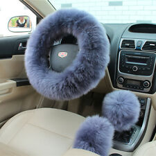 3Pcs Long Plush Fuzzy Steering Wheel Cover Blue Wool Handbrake Car Accessory #W
