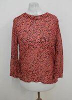 WHISTLES Ladies Black Pink Silk Multicolour 3/4 Sleeve Blouse Top Size UK10