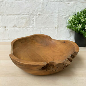 Antique Rustic Kitchen Food Hand Carved Teak Root Wood Fruit Snack Table Bowl
