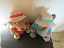 "Plush Stuffed  ""Rhino"" & ""Lion""  in Safari Outfits   ""1987"" Vintage Set"