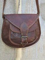 Dark Brown Satchel Bag Genuine Vintage Leather Messenger Purse Shoulder Women's