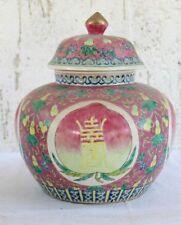 Antike große Deckelvase China aufwendig handgefertigt und handbemalt 19.Jh