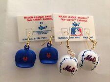 New York Mets MLB Cap Hat Baseball Earrings 2 Pair New MLB Licensed