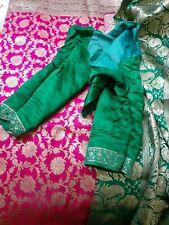 Saree Sari Hot Pink Green Banarasi Banarsi Kathan Diwali Eid Wedding