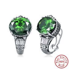 Women's Retro Gift Round Cut Emerald 100% 925 Sterling Silver Clip Hook Earrings