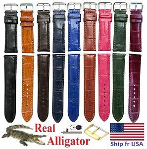 Leather Watch Band Strap Genuine Alligator Crocodile Quick Release *SHIP fr USA*