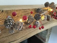 2m LED Light Up Pine Cone Holly Berry Garland Christmas Mantle Decoration Fairy