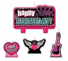 ROCKER PRINCESS Birthday Cake Candle Set 4 pieces Kids Party