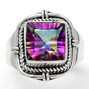 Natural Mystic Topaz 925 Sterling Silver Ring s.7.5 Jewelry E413