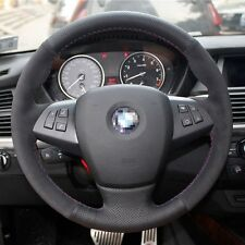 1 set All Black Swede Leather Wrap Steering Wheel Cover Stitch on For BMW X5