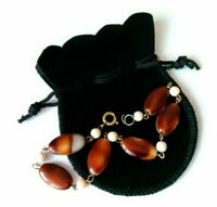 Vintage Lucite Tortoiseshell Colours Bead Bracelet, Mothers Day, in pouch  #114