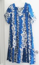 Winnie Fashion Womens Blue Hibiscus Hawaiian Dress Muu Muu House Dress Sz 3XL