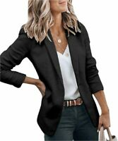 Cicy Bell Womens Casual Blazers Open Front Long Sleeve Work, Black, Size Small l