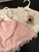 Baby Girls Boys Pink White Spanish Knitted Poncho Newborn 0-6 Mths Cardigan