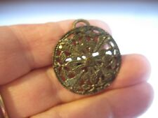 ANTIQUE VICTORIAN SILVER TONE ROUND FILIGREE  DRESS BELT BUCKLE LIKE CUT STEEL