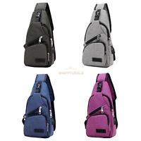 Men Women Canvas Chest Bag Outdoor Nylon Crossbody Shoulder Bags with USB Port