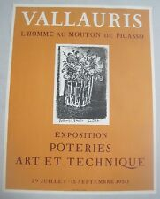 Vintage Original 1950 Picasso Lithograph Exhibit Poster Vallauris Mourlot Paris