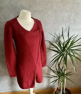Womens 10-12 Per Una Dark Red Wool Blend With Mohair Long Cardigan Textured