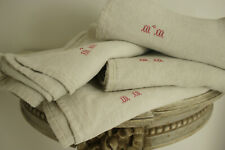 Antique European Heavy Linen Towel MM Monogram
