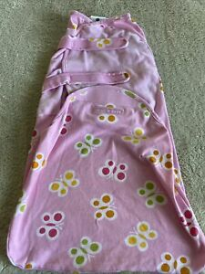 """HALO SWADDLE SURE Girls Pink Yellow Red Butterflies Small 13-16 Lbs 22-24"""""""