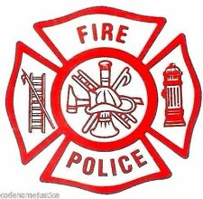 FIRE POLICE Fire Department Decal  FIRE POLICE Inside Window STATIC Cling Decal